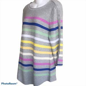 NWT Talbots Gray Multi Striped Sweater 3/4 Sleeve